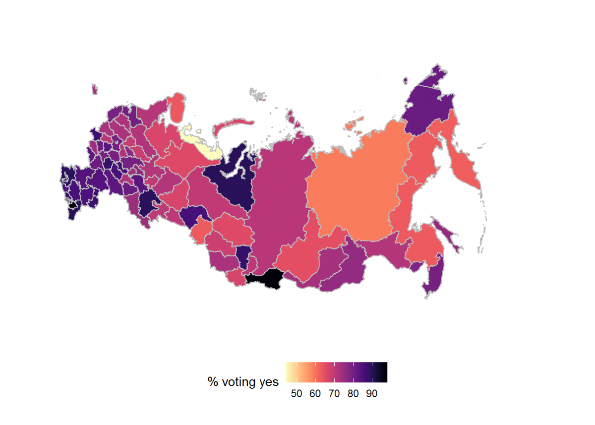 Choropleths in R – example using the 2020 Russian constitutional referendum